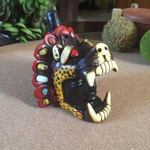 Vintage Aztec Warrior Head Onyx Stone and Clay